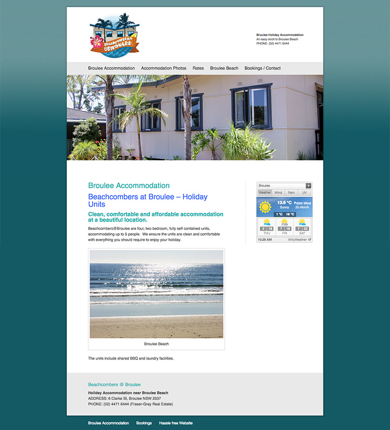 accommodation broulee website